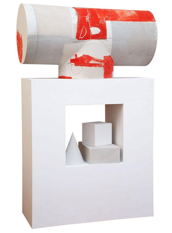 (Italiano) La postazione – Pittoscultura in legno cm 35x80x135