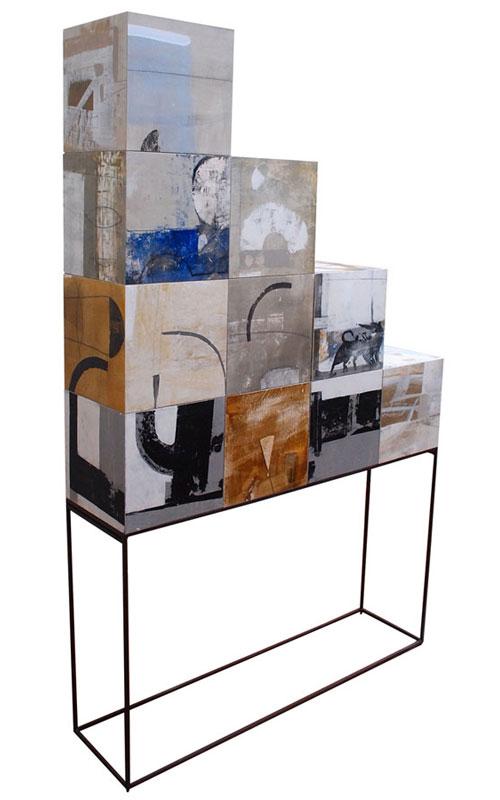 (Italiano) La scaletta – Pittoscultura acciaio legno cm 30x120x195