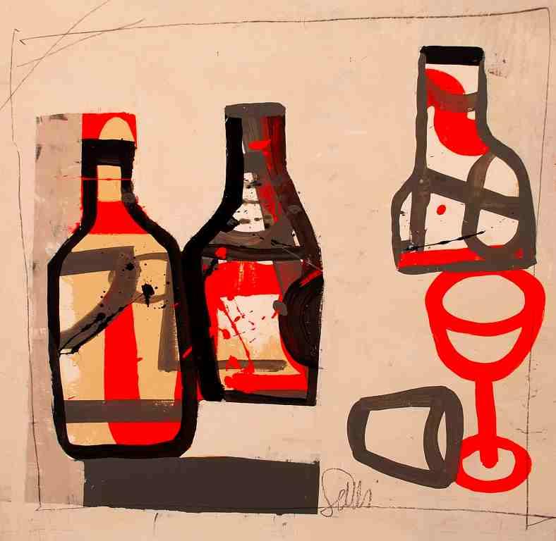 Il bicchiere rosso – tecnica mista su tavola cm 50×50 – 2017