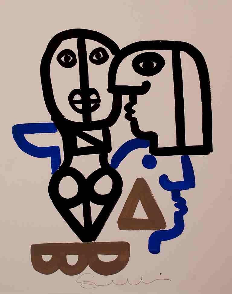 Quattro figure – tecnica mista su carta, cm 64×48 – 2017