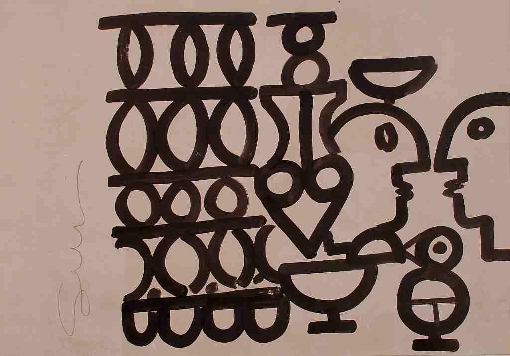 Reticolati – tecnica mista su carta, cm 50×70 – 2017